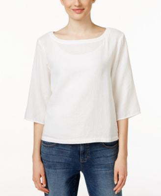 Eileen Fisher Bateau-Neck Elbow-Sleeve Top