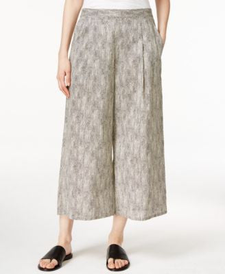 Eileen Fisher Petite Printed Cropped Wide-Leg Pants
