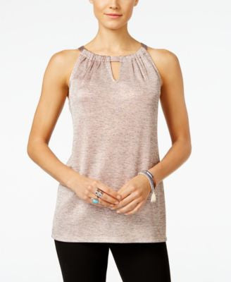 INC International Concepts Petite Shine Halter Tank Top, Only at Vogily