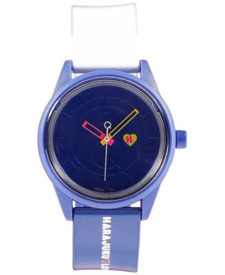 Harajuku Lovers Unisex Emoji Designed by Gwen Stefani Blue and White Printed Strap Watch 40mm HL2323