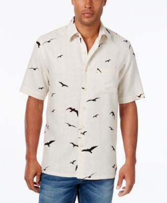 Tasso Elba Men's Big and Tall Silk Linen Bird-Print Short-Sleeve Shirt, Classic Fit