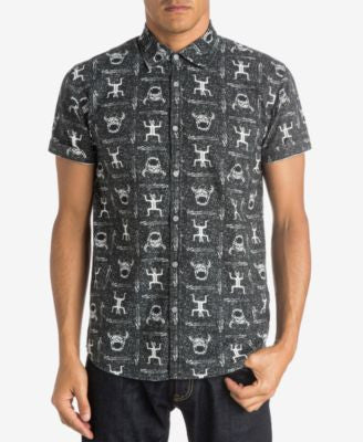 Quiksilver Men's Skull Cave Graphic-Print Short-Sleeve Shirt