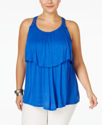 Eyeshadow Plus Size Tiered Lace-Back Top