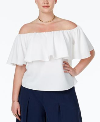 RACHEL Rachel Roy Curvy Plus Size Ruffled Off-The-Shoulder Blouse
