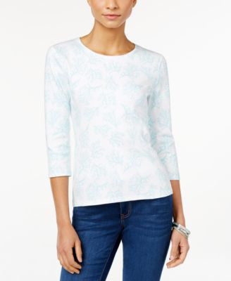 Charter Club Petite Coral-Print Top, Only at Vogily
