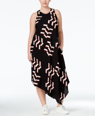 RACHEL Rachel Roy Curvy Trendy Plus Size Printed Asymmetrical Maxi Dress