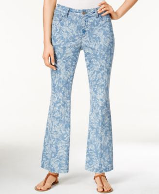 NYDJ Petite Claire Chambray Leaf-Print Trouser Jeans