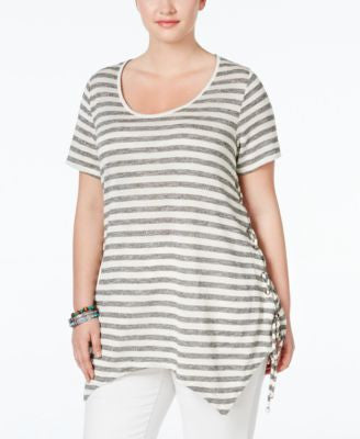 American Rag Trendy Plus Size Striped Handkerchief-Hem T-Shirt, Only at Vogily