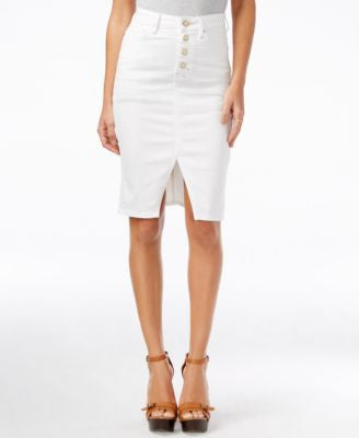 GUESS Luzy Button-Front Ever White Wash Denim Skirt
