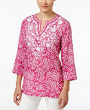 Charter Club Petite Floral-Print Embroidered Tunic, Only at Vogily