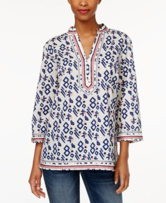 Charter Club Aztec-Print Embroidered Tunic, Only at Vogily