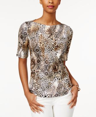 Charter Club Animal-Print Elbow-Sleeve Top, Only at Vogily