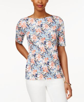 Charter Club Floral-Print Elbow-Sleeve Top, Only at Vogily
