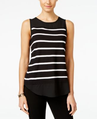 INC International Concepts Striped Mixed-Media Top, Only at Vogily