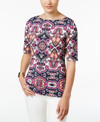 Charter Club Petite Medallion-Print Boat-Neck Top, Only at Vogily