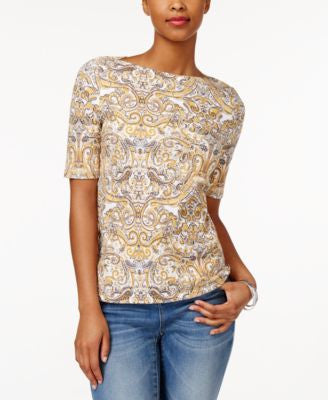 Charter Club Paisley-Print Elbow-Sleeve Top, Only at Vogily