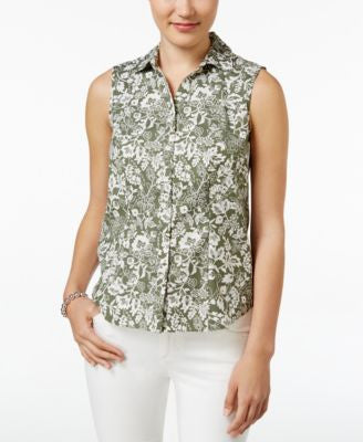 Charter Club Sleeveless Floral-Print Shirt, Only at Vogily