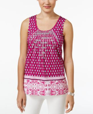 Charter Club Petite Printed Sleeveless Pintuck Top, Only at Vogily