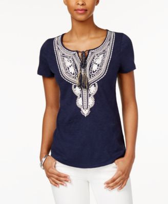 Charter Club Embroidered Peasant Top, Only at Vogily