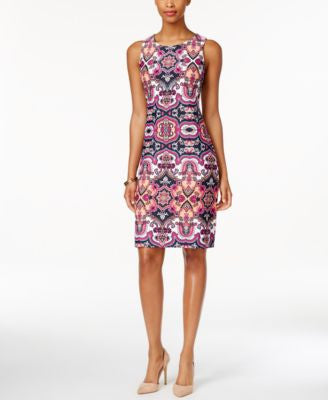 Charter Club Petite Medallion-Print Sleeveless Shift Dress, Only at Vogily