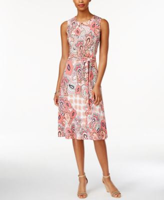 Charter Club Petite Paisley-Print Fit & Flare Belted Dress, Only at Vogily