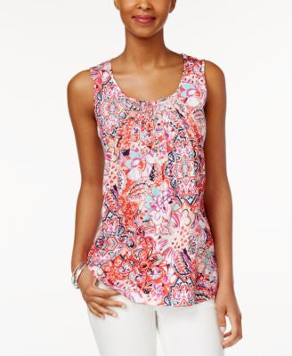 Charter Club Petite Paisley-Print Sleeveless Pintucked Top, Only at Vogily