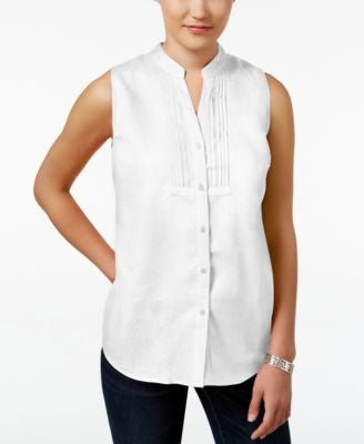 Charter Club Petite Linen Sleeveless Shirt, Only at Vogily