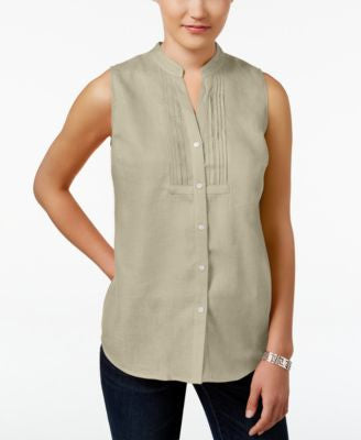 Charter Club Sleeveless Linen Shirt, Only at Vogily