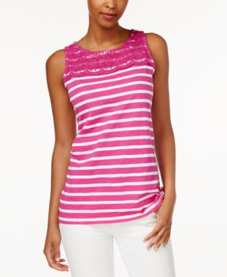 Charter Club Petite Striped Crochet-Detail Tank Top, Only at Vogily