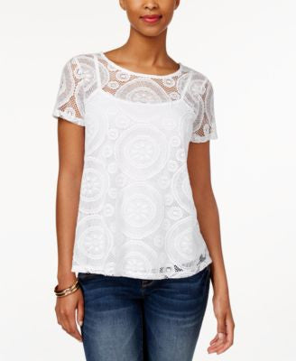 Charter Club Short-Sleeve Lace Top, Only at Vogily