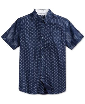 Level 10 Men's Slim-Fit Triangle and Dot Pattern Short-Sleeve Shirt