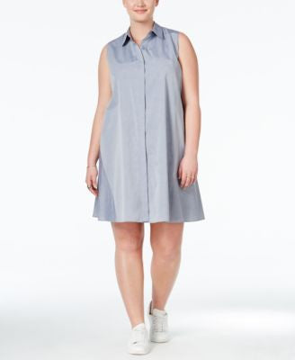 RACHEL Rachel Roy Curvy Trendy Plus Size Sleeveless Shirtdress