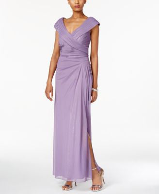 Alex Evenings Ruched Faux-Wrap Gown