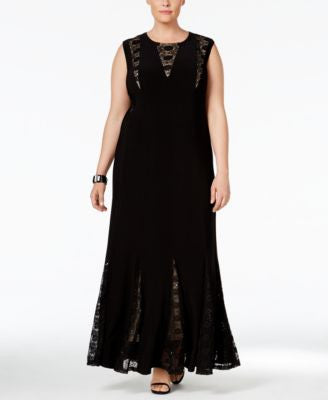 R & M Richards Plus Size Sequined Lace Gown