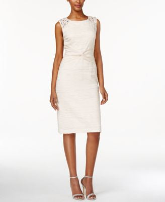 Jessica Howard Sleeveless Beaded Knotted Sheath Dress