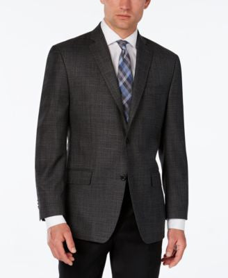 MICHAEL Michael Kors Men's Classic-Fit Gray Windowpane Plaid Sport Coat