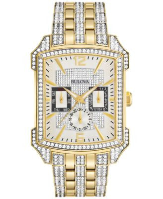 Bulova Men's Crystal Gold-Tone Stainless Steel Bracelet Watch 33x42mm 98C109