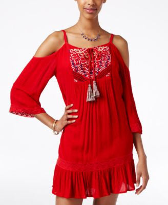 American Rag Embroidered Cold-Shoulder Dress, Only at Vogily
