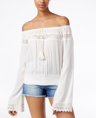 American Rag Off-The-Shoulder Lace-Trim Peasant Top, Only at Vogily