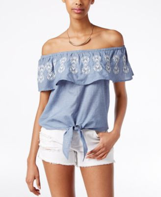 American Rag Embroidered Off-The-Shoulder Top, Only at Vogily