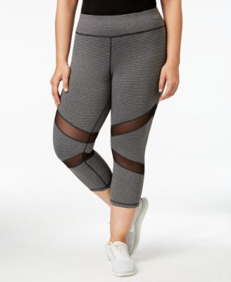 Ideology Plus Size Mesh-Inset Cropped Leggings, Only at Vogily