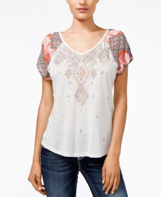 Miss Me Printed Embellished Open-Back Top