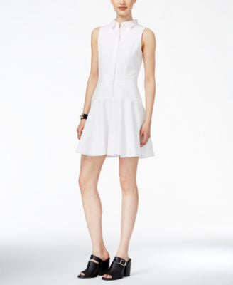 Armani Exchange Textured Fit & Flare Shirtdress