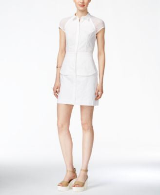 Armani Exchange Mesh-Trim Shirtdress