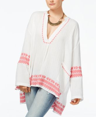 Lucky Brand Embroidered High-Low Kaftan
