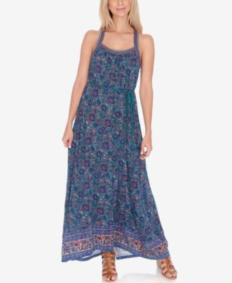 Lucky Brand Printed Embroidered Maxi Dress