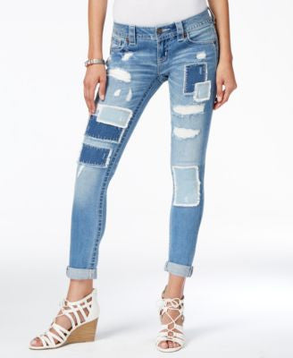 Miss Me Ripped Patchwork Medium Blue Wash Skinny Jeans