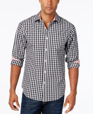 Weatherproof Men's Gingham Long-Sleeve Shirt, Contrast Cuffs