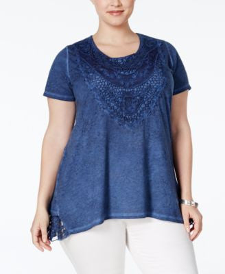Style & Co. Plus Size Lace Burnout Blouse, Only at Vogily