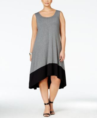 Style & Co. Plus Size Colorblocked High-Low Dress, Only at Vogily
